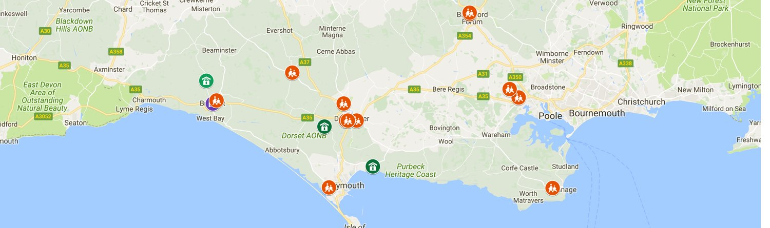 dorset map with solar installation locations