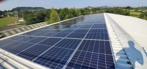 Sunny day - solar panels - Beaminster school